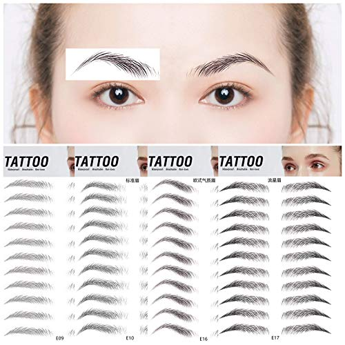 Care.D.N Tattoo Brow,4d Brow Tattoo,4d Imitation Eyebrow Tattoo Sticker,Tattoo Eyebrow Stickers,Temporary Waterproof Breathable Eyebrow Tattoos for Women and Girls,Fake Eyebrows 44 Pairs of 4 Shapes