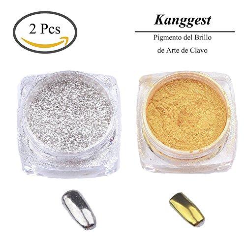 Kanggest. 2Pcs Pigmento del Brillo de Arte de Clavo Efecto Espejo Brillante Manicura de Uñas de Cromo en Polvo para Maquillaje Arte de Uñas Pintura del Arte de DIY (Plata y Oro)