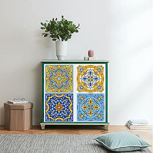 Azulejos Adhesivos Estampado De Oro Azul Vinilos Cocina AzulejosAntisalpicadurasRollos Adhesivos para Azulejos de Cocina Vinilos de Pared Decorativos VinilosBaño Vinilos Decorativos 10x10cm