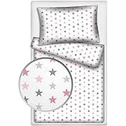 Kinderbettwäsche Stars 2-tlg. 100% Baumwolle 40x60 + 100x135 cm mit Reißverschluss (rosa-grau)