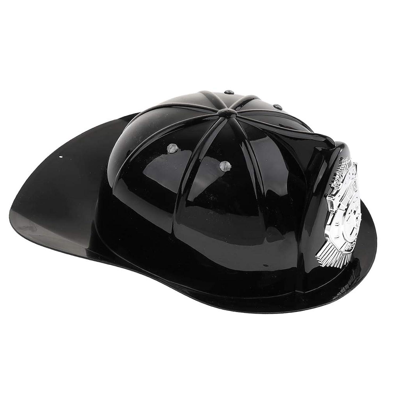 CUTICATE ファイヤーマンハット 玩具 消防士 安全ヘルメット ままごと ごっこ遊び 約28×23×10cm - ブラック