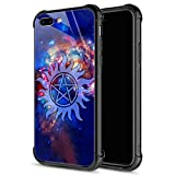 iPhone 8 Plus Case,Supernatural Cosmos iPhone 7 Plus Cases for Girls Boys,9H Tempered Glass Graphic Design Shockproof Anti-Scratch Tempered Glass Case for Apple iPhone 7/8 Plus