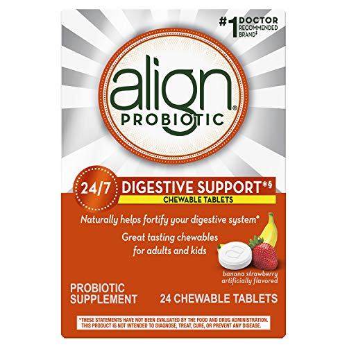 Align Probiotic, #1 Doctor Recommended Brand, Chewable Probiotic for Adults and Kids, Fortify your Digestive System 24/7 with Healthy Bacteria, Banana and Strawberry Flavor, 24 Chewable Tablets