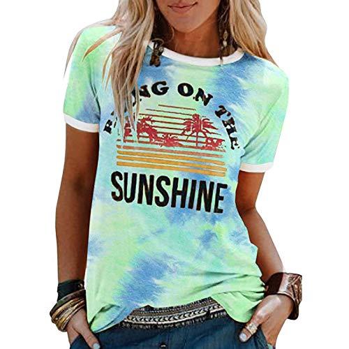 DREAMING-Frühling und Sommer Tie-Dye Damen Top Casual Loose Pullover Unterhemd Coconut Tree Pattern Printing Rundhalsausschnitt Kurzärmliges T-Shirt XXL
