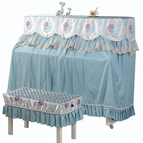 Lowest Prices! Piano cover European-Style Modern Minimalist Full Lace Fabric Cover Dust Cover Stool Cover (Color : Blue, Size : Single Bench)