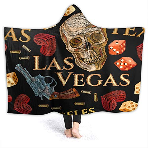 MIGAGA Hoodie Blanket Warm Flannel,Embroidery Skulls Hearts Guns Casino Red Hearts and Human Skulls Gangster Gothic Background,Soft Wearable Throw Blankets 80'×60'