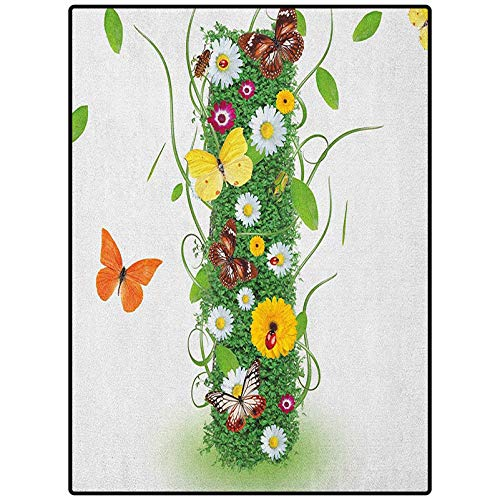 Letter I Area Rug Floor Mat Hallway Entry Nature Themed Alphabet Element Green Foliage Daisies Butterflies Capital I Green Multicolor 21' x 59'