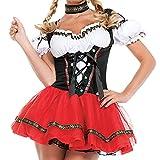 Luoyu Disfraz de Oktoberfest alemán para mujer, disfraz de dirndl tradicional de cerveza bávara, carnaval, cosplay