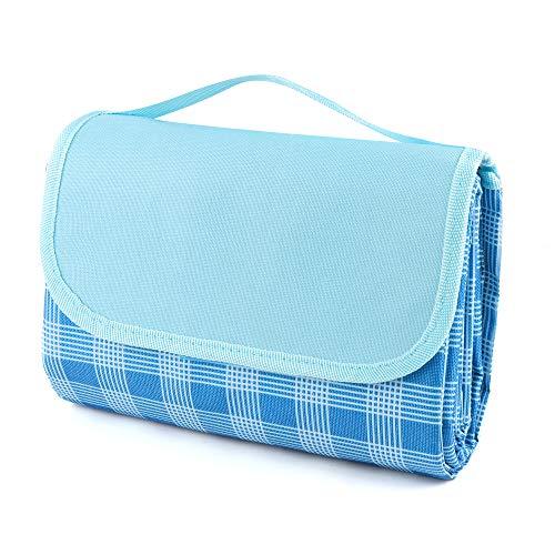 DesignSter Picknick-Matte mit Griff, Faltbare Wasserdicht und sanddichte Picknickdecke für Outdoor, Reisen, Camping, Wandern, Park, Garten (59''x79 '', Blau Striped)