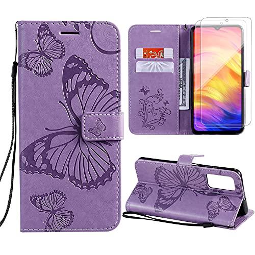 Vansdon Funda Xiaomi Redmi Note 10 Pro, [2 * Protector de Pantalla de Vidrio Templado], Funda clásica de Piel sintética con Forma de Mariposa, Funda Tipo Billetera con Tapa - Púrpura