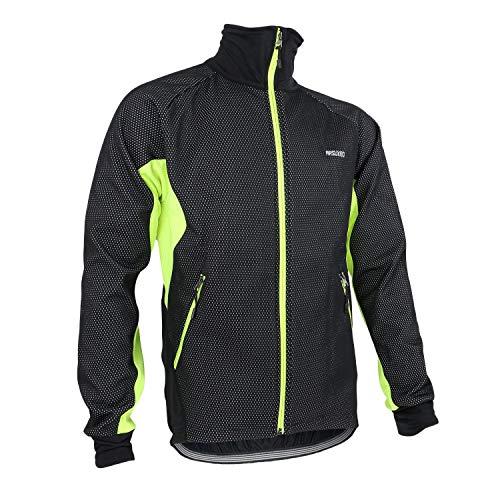 ARSUXEO Herren Fahrradjacke Fahrradjacke Top Thermal/Warm Winddicht Fleece Futter Sport Polyester Spandex Fleece Winter Mountainbike Jacken (Hellgrün, L)