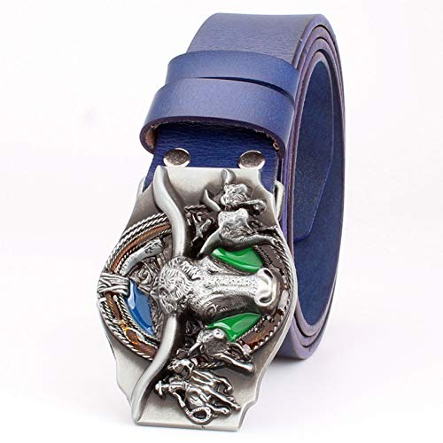 WDYDDW Cintura Uomo Moda Donna Uomo Cintura di Pelle Stile Cowboy di Pelle Cowskin Western Cowboy Mucca Cintura Testa di Toro Pattern