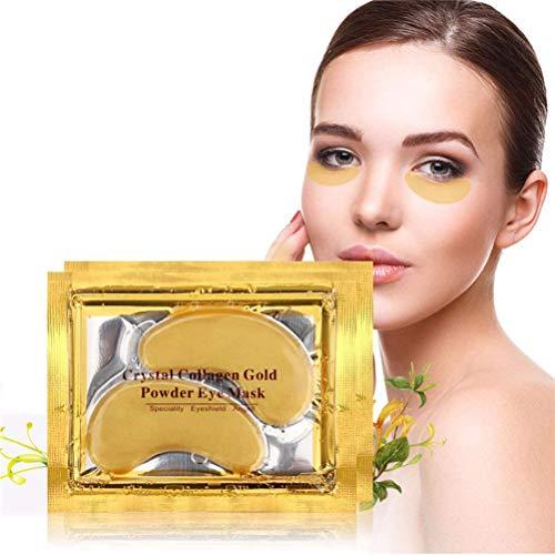 24k Gold Eye Gel Pad Crystal Collagen Face Mask Anti Aging Ride, Gold Powder Gel Collagen Eye Sheet Patch, Hydratant (10 paires)