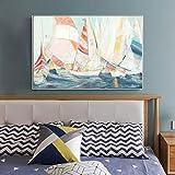 RTCKF Cartel de Arte Abstracto Moderno e impresión Mural Lienzo Pintura Acuarela velero Pintura Decorativa Sala de Estar (sin Marco) A6 60x90cm