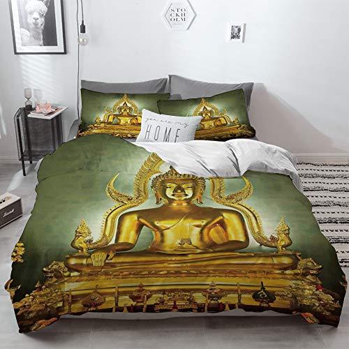 3 Piece Duvet Cover Set No Wrinkle Ultra Soft Bedding Set,Asian Decor,Golden Statue on Throne Nirvana Pray Indian Classic Art ative Image,Golde,2 pillowcase 50 x 75cm 1 Pc Bed sheet 260 x 220cm