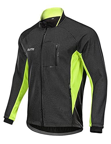 Jueshanzj Polar ciclismo Jersey manga larga hombres otoño e invierno más polar para mantener el calor transfronterizo parabrisas ciclismo Jersey chaqueta hombre, Negro+Verde Fluorescente, XXL