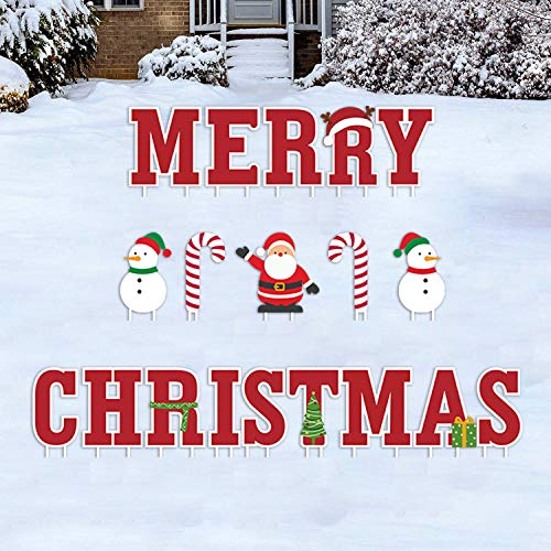 GFT Merry Christmas Sign Yard Outdoor Xmas Letter Yard Signs with Stake Decorations Outdoor Party Lawn Yard Decorations for Christmas 19pcs