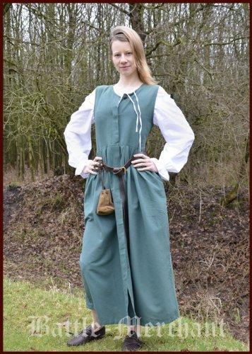 Robe paysanne style médiéval en coton, verte - robe du Moyen-âge - Robe GN