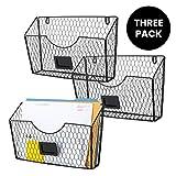 Homeries Wall Mount File Organizer Box (Pack of 3) – Hanging Magazine, Folder, Mail Storage Holder for Home & Office – Sort Folders, Papers, Letters, Bills, Envelopes