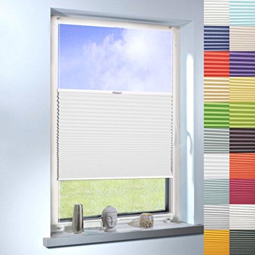 Sun World Plissee nach Maß, Klemmfix ohne Bohren, Faltrollo nach Maß Faltstore Maßanfertigung für Fenster und Türen (Farbe: Dunkel Weiß, Höhe: 140cm x Breite: 135cm)