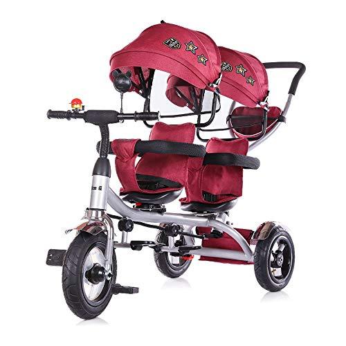 Chipolino, Triciclo, 2Play, per Gemelli, Pneumatici, Manubrio, Fino a 50kg, colorazione:Rosso