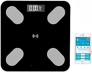 Báscula digital inteligente para personas con Bluetooth para iOS y Android, gestión de peso, grasa, líquidos, masa muscular, BMI, BMR, masa ósea y grasa abdominal, carga USB