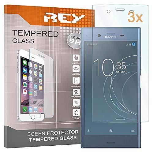 REY 3X Protector de Pantalla para Sony Xperia XZ1, Cristal Vidrio Templado Premium