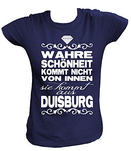 Artdiktat Damen T-Shirt - Wahre Schönheit kommt Nicht von Innen - Sie kommt aus Duisburg Größe XXL, Navy