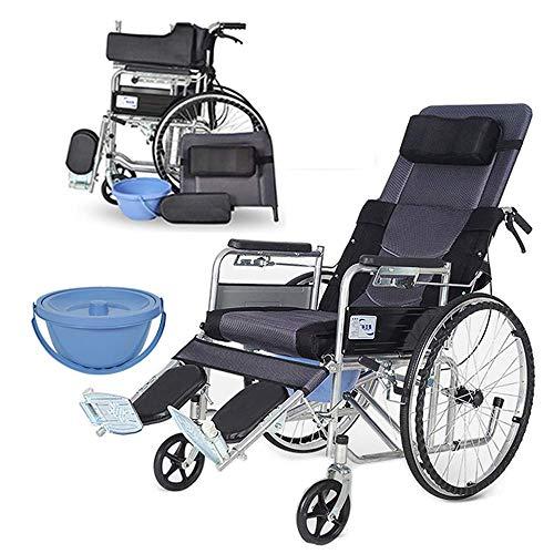 Z-SEAT Reha Commode Stuhl mit Rädern Rollstuhl mit hoher Rückenlehne und Armlehne Fußschemel, halblegen 3-Positionen verstellbar, leichtes Klappen, 4 Optionen