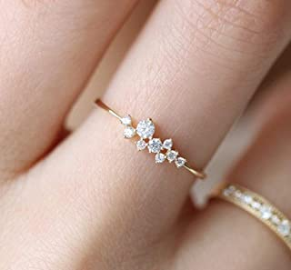 Longfu Simple 18k Gold Rings for Teen Girls Clear Studded Eternity Wedding Ring 18k Gold Filled Engagement Stackable Diamo...