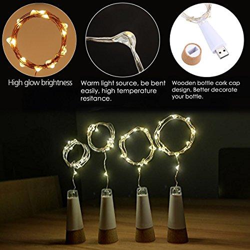 LED Flaschenkorken Beleuchtung USB betrieben Wiederaufladbar 1.9 m