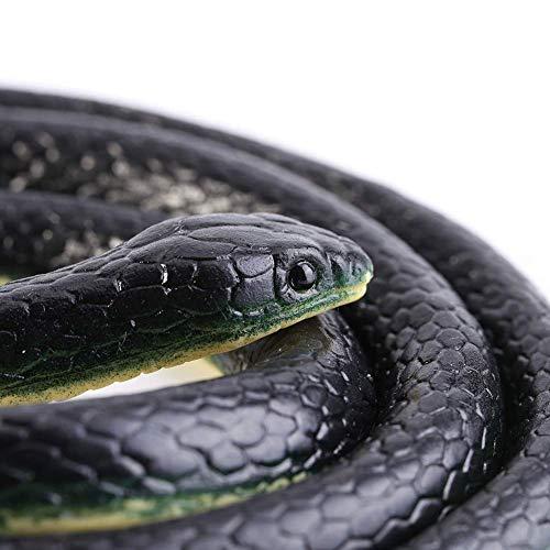 Serpiente Negra de Goma Realista, 130 cm de Largo, Serpiente Falsa Mamba, Juguetes de Serpiente, decoración de Halloween para bromas, Accesorios de jardín, bromas, Fiesta de Halloween