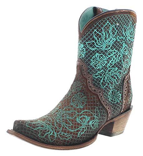 Corral Boots Damen Stiefelette C3427 Lederstiefelette Westernstiefelette Braun 39 EU