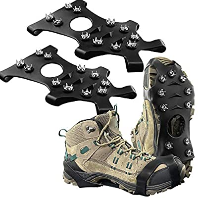 New Upgrade Ice Grips Ice Cleats Crampons, ZUXNZUX Anti Slip Snow Grips with 11 Teeth Stainless Steel Durable Silicone for Ice Walking, Ice Fishing, Snowing, Hiking, Climbing(Black,S)