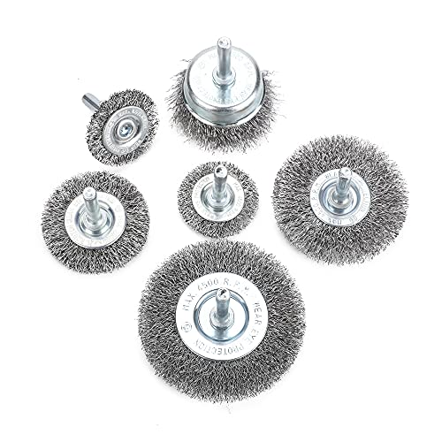UYOK Wire Wheel Brush Set for Drill,6 Piece Coarse Crimped Carbon Steel 1/4