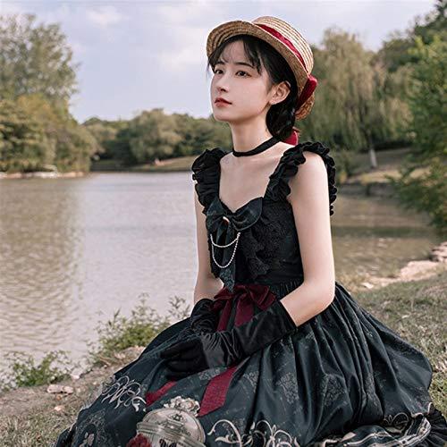 Yunbai Lolita Kleid Lolita JSK Kleid JSK Kleid Gothic Stil Dunkle Vintage Viktorianische Prinzessin Party Kleid Ärmelloses Lolita Kleid (Size : Large)