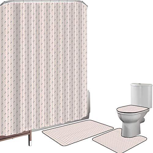 Ensemble de rideau douche Accessoires salleLa Saint Valentin Couverture toilette pour tapis bain Coeurs dessinés à la main d'icône d'amour éternel infini dans l'image rayée de rangée,rose clair et noi