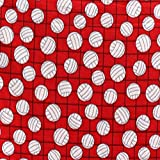 Pico Textiles Volleyballs Red Fleece Fabric - 60' Wide - 2 Yards Bolt/Multi Collection - Style# 1061