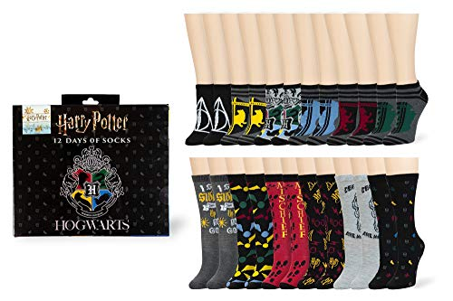 Limited Edition Men's Harry Potter 12 Days of Socks Set for Size 6 - 12 (Crew & Low Cut Socks)