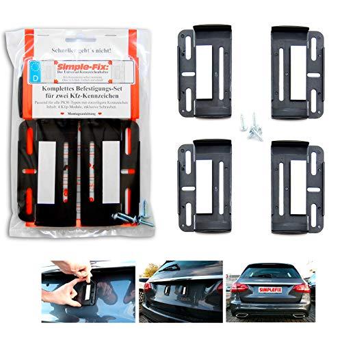 Kennzeichenhalter Kennzeichenträger Simple Fix Rahmenlos für Auto Satz 2 Stück leicht zu montieren 52,5cm x 13cm und kurze Kennzeichen 30,5cm x 11,5cm
