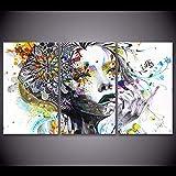 XIANRENGE Leinwanddrucke,3 Panel Farbenfrohe Abstrakte Frau