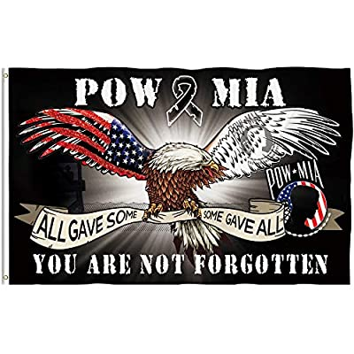 Bonsai Tree Pow Mia Eagle Flag 3x5 Ft, Double Sided All Gave Some Some Gave All You Are Not Forgotten Flags, American Army Veterans Retired Polyester Garden Signs Banners House Outdoor Decoration