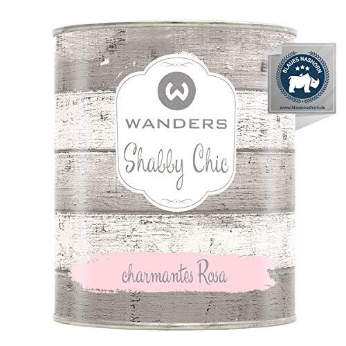Wanders24® Kreidefarbe (750 ml, charmantes Rosa) Holzfarbe für Shabby Chic Look - Möbelfarbe einfach zu verarbeiten - Möbellack auf Wasserbasis - Made in Germany