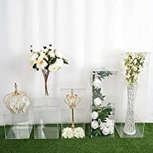 BalsaCircle 5 pcs Clear Mirror Display Box Holder Flower Riser Vase Centerpiece Floor Standing Pedestal Wedding Supplies