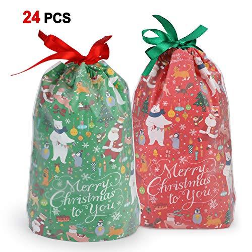 Howaf 24 Pezzi Grande Natale Sacchetti con Coulisse Caramelle Sacchetti Confetti Alimentari Borsa di Regalo Sacchetto Bustine Biscotto per Natale Bomboniere, Regali, Matrimonio, Compleanno