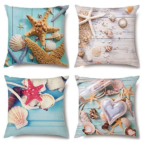 Artscope - Set di 4 federe decorative 45 x 45 cm, in microfibra di poliestere di alta qualità, per divano, auto, camera da letto, decorazione (conchiglie di stelle marine)