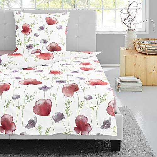 Irisette Edel-Feinbiber Bettwäsche Feel Blumen 1 Bettbezug 135x200 cm + 1 Kissenbezug 80x80 cm
