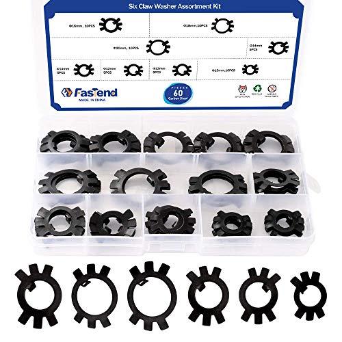 60Pcs Carbon Steel Lock Washer Assortment Kit 6 Sizes Tab Washer M10, M12, M14, M16, M18,M20