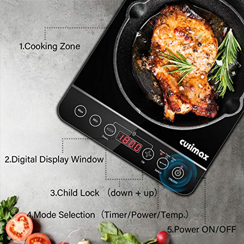 Product Image 6: Induction Cooktop, CUSIMAX 1800W Portable Induction Burner with Timer, Sensor Touch Countertop Burner, 10 Temperature and 9 Power Setting, Kids Safety Lock for Cast Iron, Stainless Steel Cookware