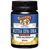 Barlean's Organic Fresh Catch Fish Oil with 1,300 mg Omega-3 and Ultra EPA & DHA - Pharmaceutical Grade, Non-GMO, Gluten-Free - 60 Softgels, Orange Flavor